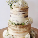 White+and+Gold+Semi-Naked+Wedding+Cake+with+Florals