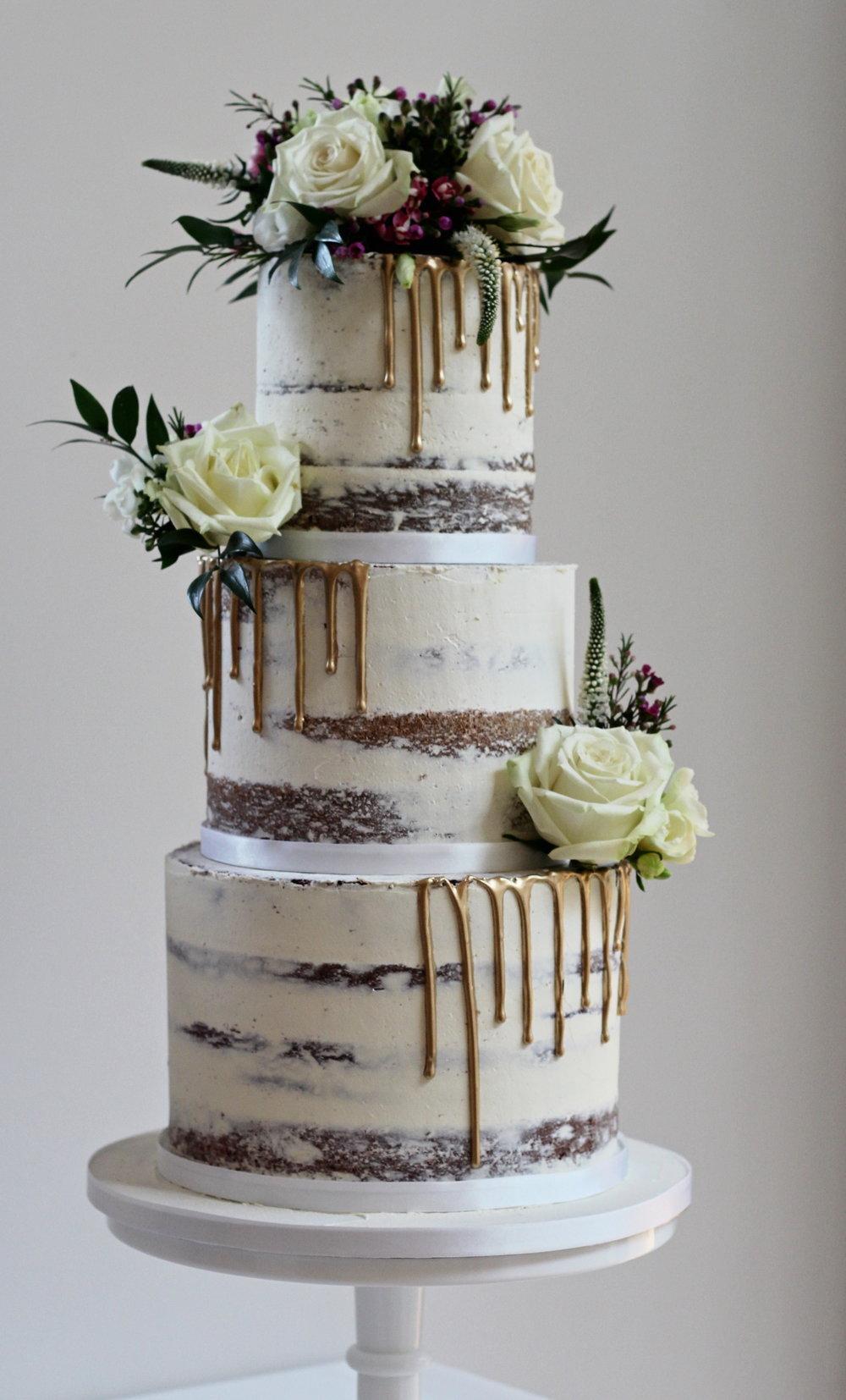 Naked Ombre Wedding Cake - The Cakery Leamington Spa